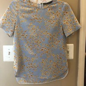 Zara XS floral yellow blue blouse